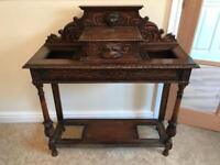 Antique green man umbrella stand table for hallway