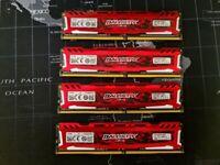 Crucial Ballistix Sport RAM DDR4 16GB 4GBx4 Dual/Quad Channel
