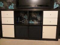 Ikea black & white storage/TV unit with inserts