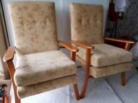 2 x high seat armchairs