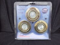 Set of 3 swivel brass finish downlights- Unused & in original packaging