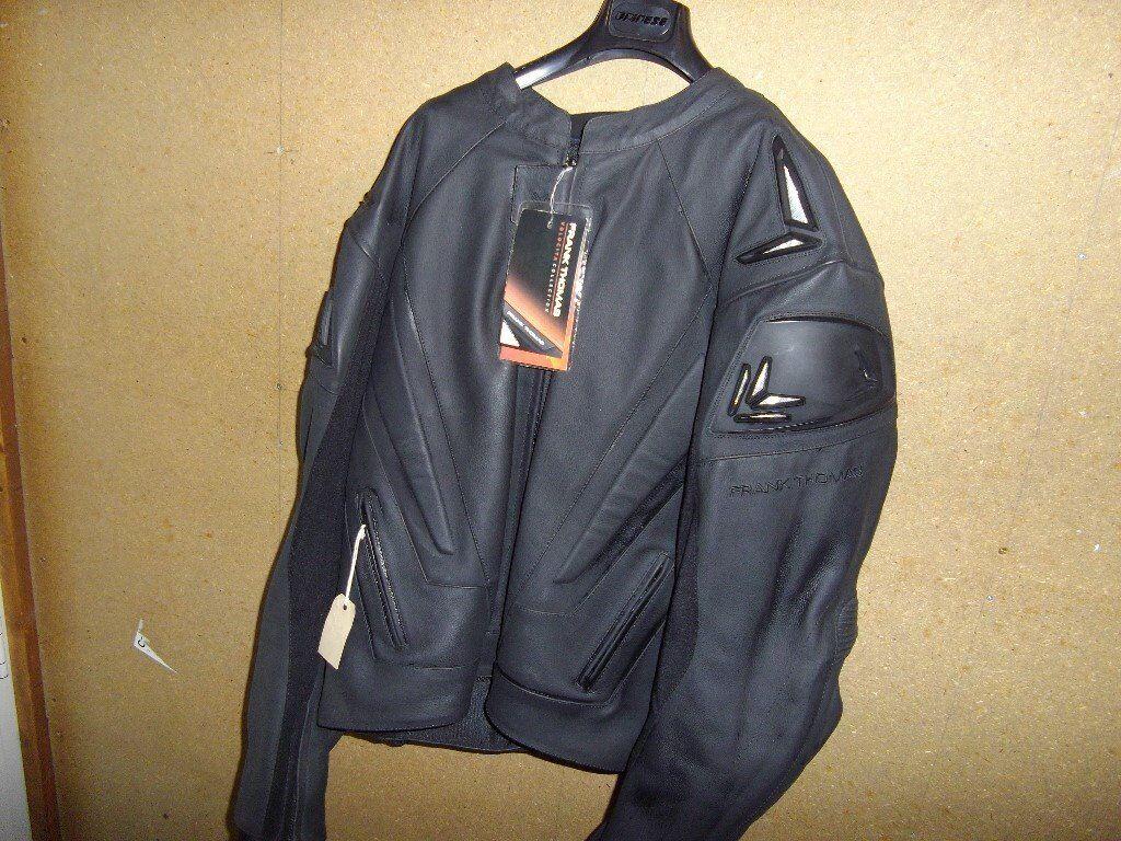 Frank Thomas Black Leather Motorcycle Jacket.