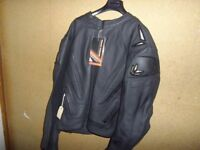 Frank Thomas Black Leather Motorcycle Jacket.