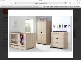 Mamas and papas children's furniture set cot turns to toddler bed .wardrobe and chest of drawers