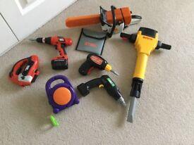 Toy chainsaw, hammer drill, drills etc