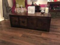 Dakota mango wood coffee table with 8 deep draws, 4 each side