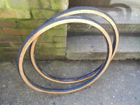 michelin world tour 27 x 1 1/4 tan wall tyres including tubes