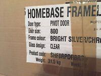 NEW frameless shower enclosure silver/ chrome still boxed