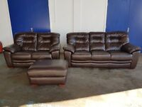 HIGH QUALITY DARK BROWN LEATHER GILLIES LOUNGE SUITE 3 SEATER 2 SEATR & FOOTSTOOL DELIVERY AVAILABLE