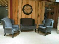 Grey Chenille Fabric Suite (Professionally Recovered)