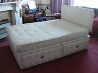 DOUBLE DIVAN BED WITH FOUR DRAWERS, HEADBOARD & MATTRESS