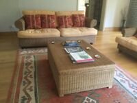 3 piece rattan sofa and chairs with large storage box/coffee table