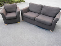 Brown upholstered lounge suite of 3 seater sofa and armchair - Can deliver