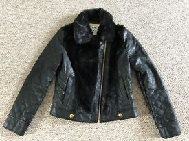 Girls Black 'Leather look' jacket with faux fur Age 9-10