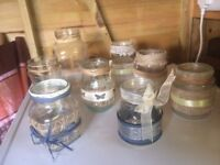 Approx 50 assorted decorated jam jars for rustic wedding