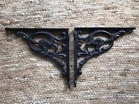 Antique Victorian style cast iron wall brackets