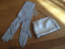 Vintage silver gloves and bag