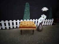 ABSOLUTELY STUNNING MUSTARD VELVET FABRIC & WOOD FOOT STOOL IN EXCELLENT CONDITION 42/34/30 cm £20