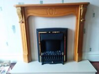 Electric fire, hearth and surround with mantlepiece