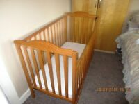 TWO lovely wooden cots for sale (one pine and one Mamas & Papas)