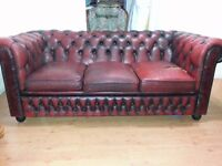 antique ox blood leather chesterfield. large 3 setter. lovely antique chesterfield.