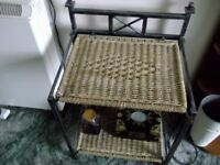 Wicker and Metal Side Tables very unusual