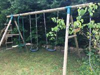 Wooden swing climbing play frame
