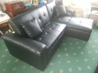 Black Leather L Shaped Sofabed