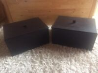 Brown Faux Leather Storage Boxes