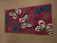 Children's Bedroom Mat / Rug, Pink Butterfly Theme Warm Inviting, As New £10