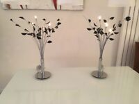 2 x Led lit black & chrome tree table lamps