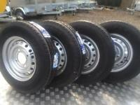 Trailer wheels and tyres to fit Brian James car transporter