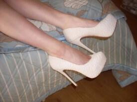* BARGAIN* NEW LOOK Cream Ivory Lace Platform High Heels Shoes Wedding 7/40