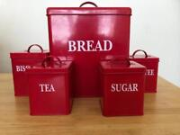 Bread bin, coffee, tea, sugar & biscuit tins