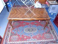 VERY OLD COFFEE TABLE WITH QUEEN ANNE LEGS & GLASS TOP