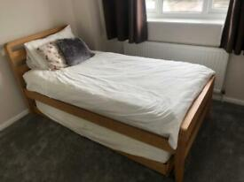 Oak Single Bed with Trundle + Mattresses