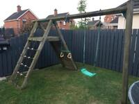 Jungle Gym Wooden Swing Set with Cargo net & Climbing Wall