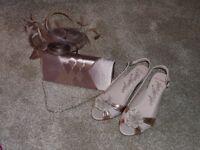 Wedding shoes,handbag & fasinator
