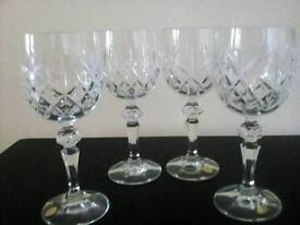 Four Bohemian crystal wine glasses