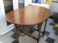 Gateleg Table in Solid Oak with Barley Twist Legs. Probably 1930's