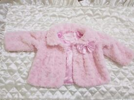 baby girl pink fluffy coat 6-9 months