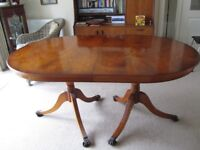 Yew wood reproduction oval extendable table