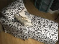 Floral Black and White Chaise Lounge with removable covers