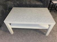 Off white Ikea lack table with patterned top coffee table