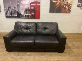 BLACK LEATHER SOFA BED WITH MATTRESS NICE SMART GOOD CONDITION CAN DELIVER