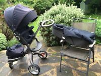 Stokke Xplory V3 navy pushchair + carrycot + extras (footmuff & raincovers)