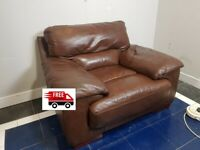 Brown leather armchair (delivered free)