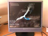 Sony 17 inch Flat Screen PC monitor with stand and cable.