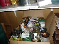 Large box of washed jars, various sizes