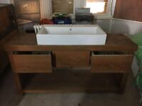 Bespoke wooden bathroom vanity with sink